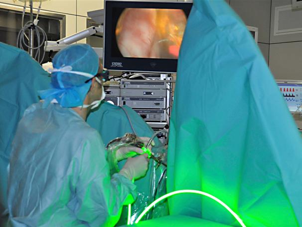 Операция на увеличена простата със Зелен лазер, проведена през 2013 по време на миналогодишната среща по Едоурология, показва пред публика методът на вапоризация /изпаряване/ на жлезата.